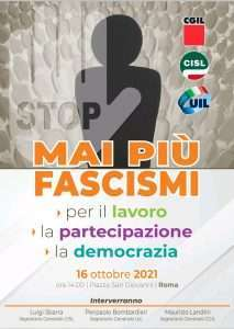 Auser Aderisce A MAI PIÙ FASCISMI la manifestazione del 16 ottobre a Roma